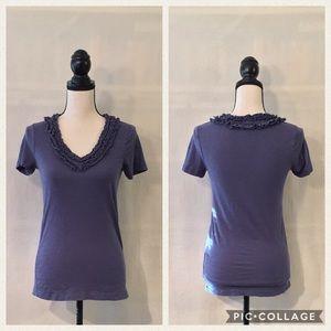 J. Crew blue short sleeve ruffle v-neck t-shirt